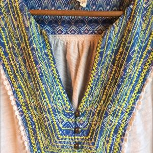 Anthropologie Tops - Anthropologie Meadow Rue Tee V-Neck Ethnic Blue